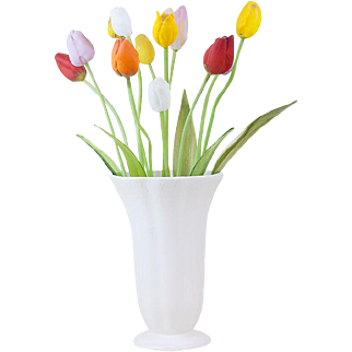 1910s Antique Blown Glass 11 Tulip Bouquet with Bent Stem and Leaves