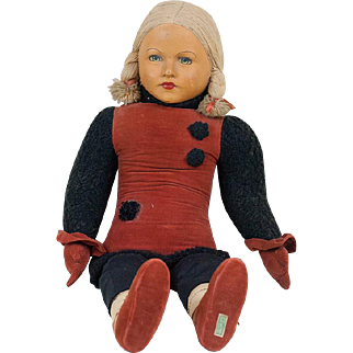 """1930s Large Size Dean's Rag Cloth Doll 35"""""""
