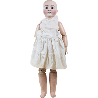 """1910s Antique French Character Face Ed Tasson Bisque Doll 25"""""""