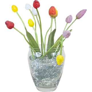 """1910s Antique Blown Glass 9"""" Tulip Bouquet with Bent Stem and Leaves"""