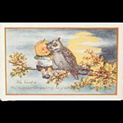Early 1900s Vintage Halloween Pumpkin & Owl Unused Postcard