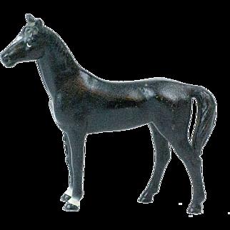 """1930s Small Hubley Cast Iron Black Beauty Horse Door Stop 4"""""""