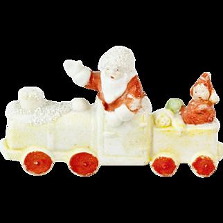 "German Snow Baby Santa in a Train with Elf 3"""
