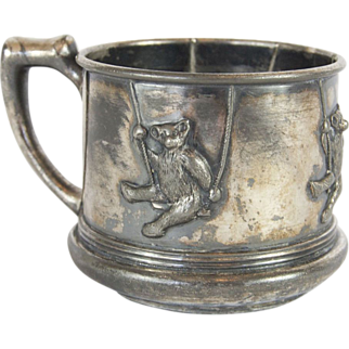 1900s Eureka Silver Co. Quadruple Plate Embossed Silver Teddy Bear Cup