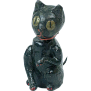"""1920s Japanese Papier Maché Black Halloween Cat Bobble Head with Spring Tail 4"""""""