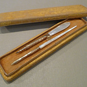 Antique Mother of Pearl Desk Set with Dip Pen and Combination Mechanical Pencil/ Letter Opener
