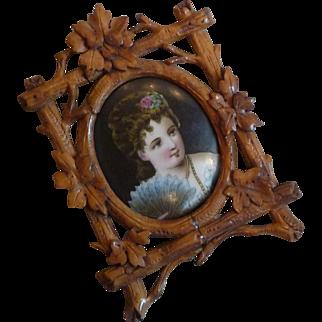 Miniature Wood Framed Portrait on Porcelain
