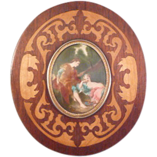 Antique Miniature Painting in Marquetry Frame