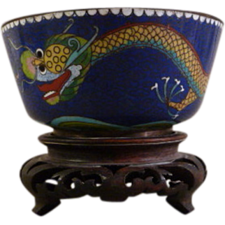 Chinese Cloisonne Enamel Dragon Bowl with Carved Wood Pedestal Base