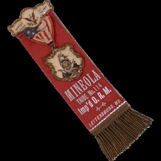 Improved Order of Red Men Fraternal Lodge Ribbon Badge