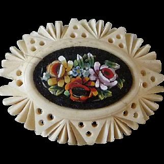 Italian Celluloid Micro Mosaic Brooch or Pin