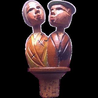 SALE Anri Carved Wooden Mechanical Bottle Stopper Cork Kissing Couple