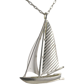 K & L 835 Silver Sailboat Pendant with Chain