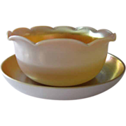 Steuben Gold Aurene Calcite Bowl and Underplate Signed by Frederick Carder