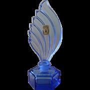 Vintage Jizerske Sklo Czech Handmade Blue Glass  Perfume Bottle
