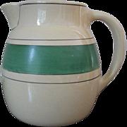 Vintage Roseville Pottery Creamware Green Band Stripe Pitcher