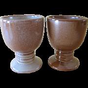 Vintage Frankoma Brown Satin Pottery Tumblers