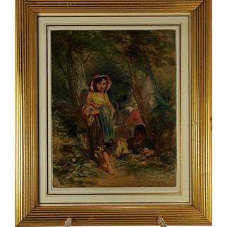 A late 18th century watercolor by George Morland (1763-1804), of two gypsy children at an encampment, circa 1795.