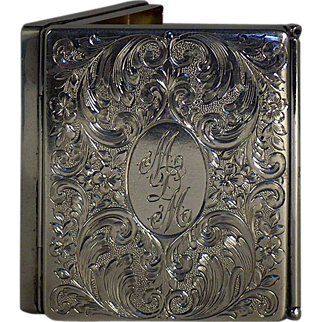 Charles Thomas Decorated and Monogrammed Sterling Gilt Cigarette Case circa 1920