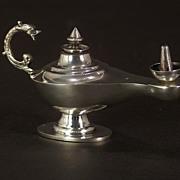 A fine vintage Egyptian silver table smoker's oil lamp, Cairo, circa 1960