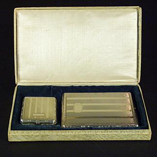 A handsome American Art Deco Nickel Silver Cigarette case and match safe together with the original presentation box, Brun-Mill company, Prospect, Illinois. Circa 1920