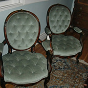 pair of palatial LXV style french  bronze mount blue velvet chairs c.1880
