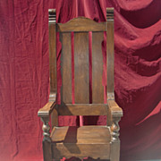 Turn of the century solid oak high back throne chair