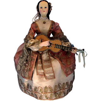 SALE Automaton French Musical CA 1860, Elegant Dancing Lady with Guitar by Theroude, Provenance