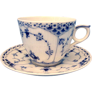 SALE Royal Copenhagen Blue Fluted Half Lace Cup and Saucer Duo #756 1st Quality
