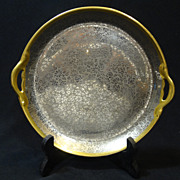 "Pickard Platinum Daisy & Rose Flower Pattern on Yellow Gold - 8"" Handled Plate"