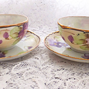 Pair of VIOLETS Cups and Saucers Marked Hand Painted NIPPON