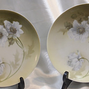 "PAIR Vintage German WHITE POPPIES Plate 6 1/2"" diameter - Muted Green Background"