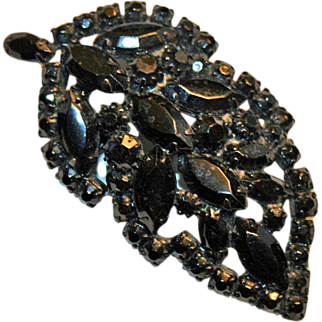Vintage Weiss French Jet Brooch in Leaf Form c1951