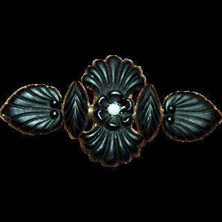 Civil War Era Mourning Brooch of Vulcanite, Opal, Hearts of 12kt Rose Gold c1865