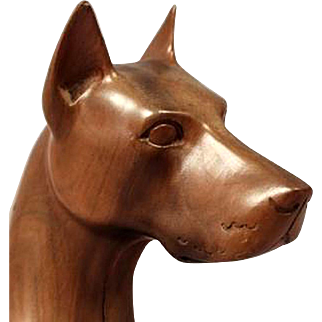 Sculpture of a Doberman, Carved Fruitwood c1920s