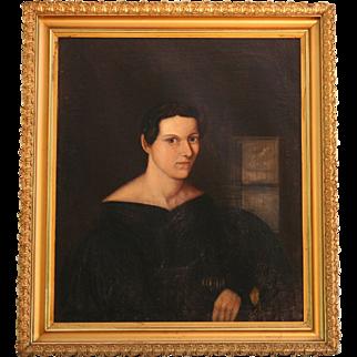 Portrait of a Woman, Oil on Canvas, American School c1840