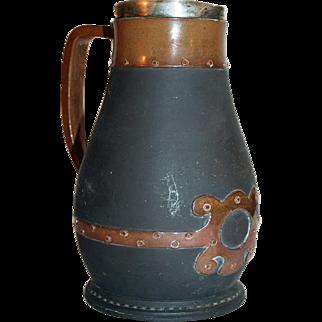 Doulton Lambeth Silicon Stoneware Jug c1880-1912, Sterling Silver Rim, Identified