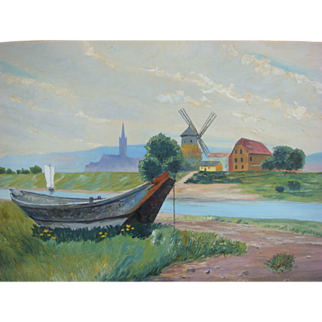 SALE M.M. Lauer Vintage 1930s Austrian Landscape Oil Painting Windmill Boat Countryside