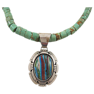SALE Native American Navajo Billie Wydell Turquoise Heishi Natural Stone Necklace
