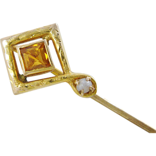 SALE Art Deco Pearl And Citrine 14K Gold Stick Pin With C.P.G.