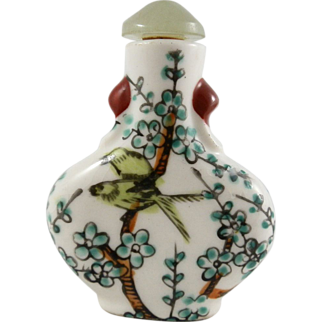 SALE Bird Theme Chinese Hand Painted Faceted Jade Top Porcelain Snuff Bottle