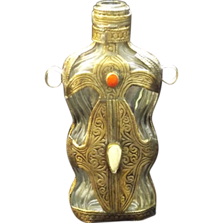 SALE Art Nouveau Metal Encased Jeweled Flask