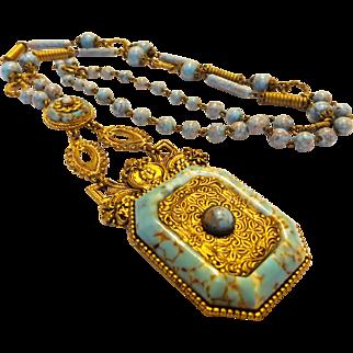 Art Deco Czechoslovakian Peking Glass Necklace