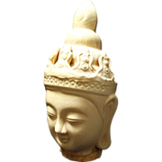 Large Kwan Yin Chinese Pottery Tang Style Head Statue