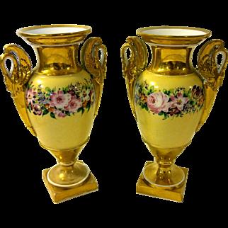 19th Century Old Paris Urn Pair