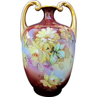 """SALE Limoges H.P. 13 ½"""" Muscle Vase w/ Yellow Roses- artist signed"""