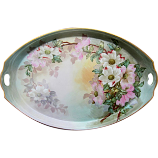 """SALE Hand Painted 16 ½"""" Tray with Dogwoods- artist signed"""