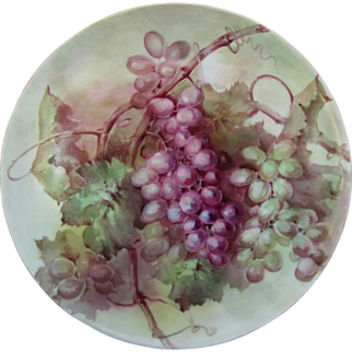 """SALE T&V Limoges H.P. 13 ½"""" Plaque w/Red & Green Grape Clusters"""