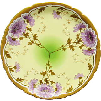 """SALE J.H. Stouffer Company H.P. 8 ½"""" Scalloped Edge Plate w/Lavender Asters- signed """"E. Feix"""""""