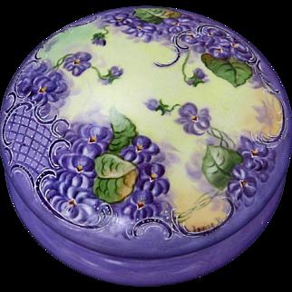 """SALE T&V Limoges 8"""" H.P. Violets Dresser Box- artist signed """"Louise P."""""""